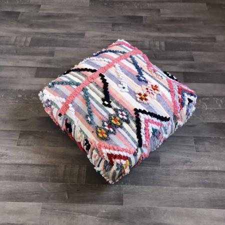 Stunning Moroccan Cushion Handwoven Vintage moroccan pouf, Moroccan boucherouite pouf, berber pouf, floor pouf