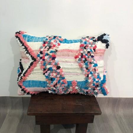(C008) Stunning Moroccan Cushion Handwoven boucherouite pillow Beanbag Yoga moroccan cushion, berber pillow, kilim pillow