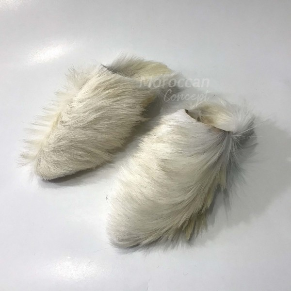 Moroccan leather babouche slippers - hairy leather - Unisex high quality