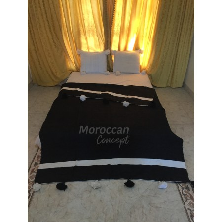 Moroccan cotton blanket with pom poms , 100% cotton