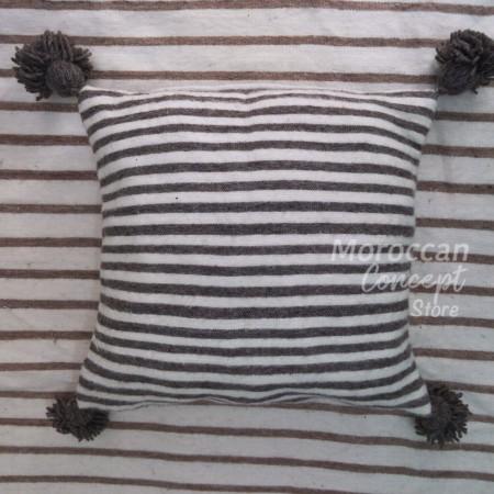 Cotton pompom pillow