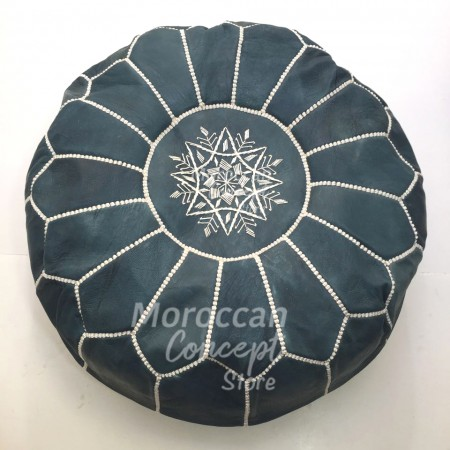 Moroccan leather pouf BL
