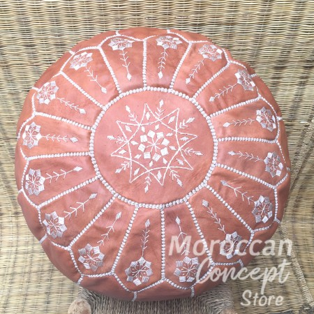 Moroccan leather pouf TB flower