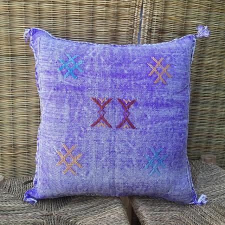 Handmade multicolored silk cushion
