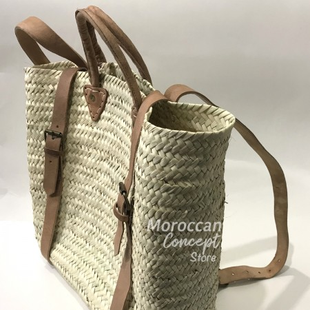 Moroccan Straw Backpack