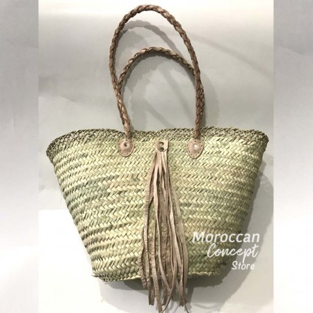 Moroccan  natural Basket with leather handles