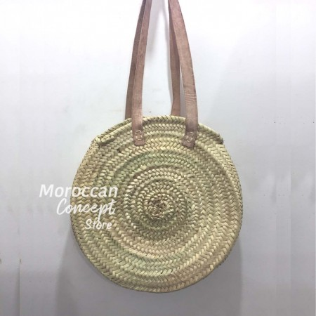 Moroccan natural Basket leather handles