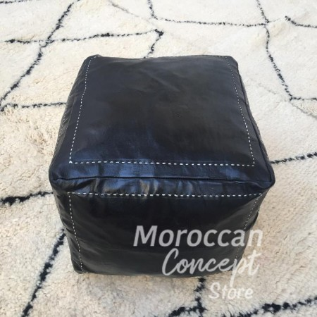 Moroccan square leather pouf