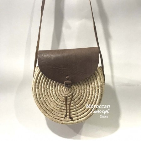Moroccan Raphia bag  with leather strap