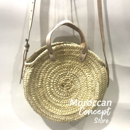Moroccan round natural Basket with leather strap