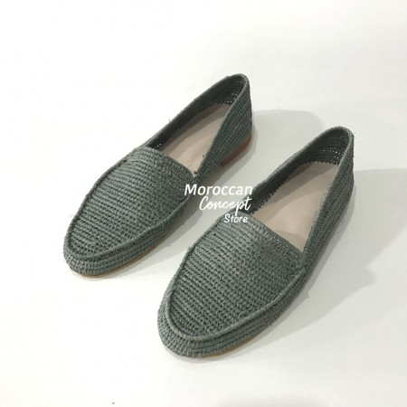 natural raphia and leater slippers