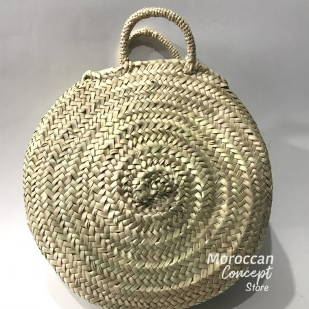 Moroccan round natural Basket with leather handles