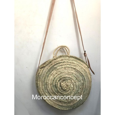 lot of 15 Moroccan round natural Basket with leather strap
